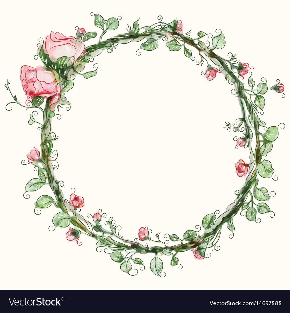 watercolor round rose flower frame royalty free vector image holly leaves clipart png christmas holly leaves clipart