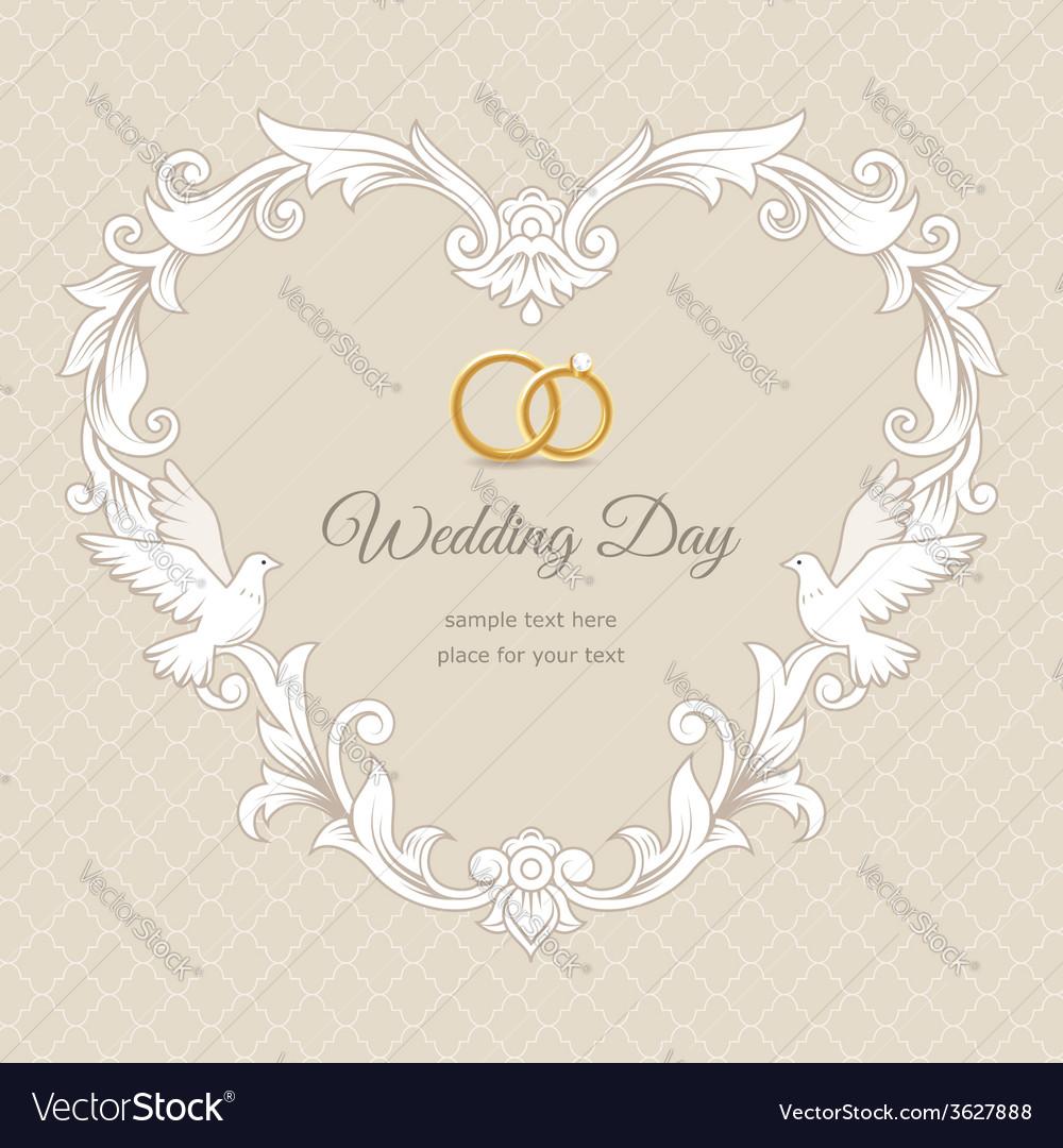 Wedding heart frame gold