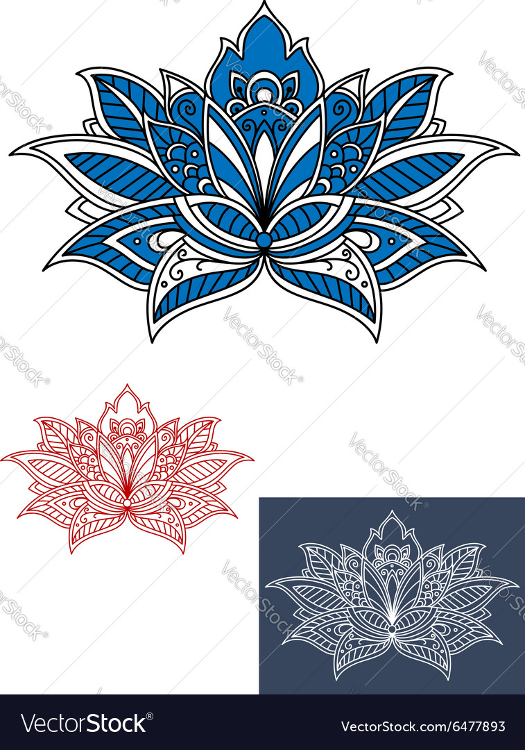 Blue flower with white paisley pattern vector image