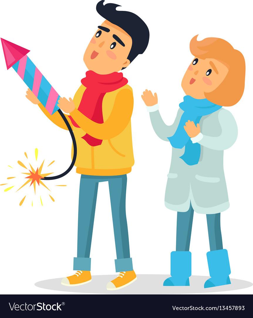 Cartoon boy and girl set off firework rocket