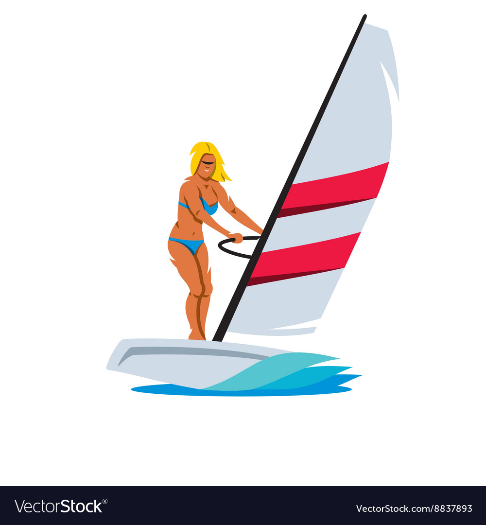 Female Windsurfing Cartoon