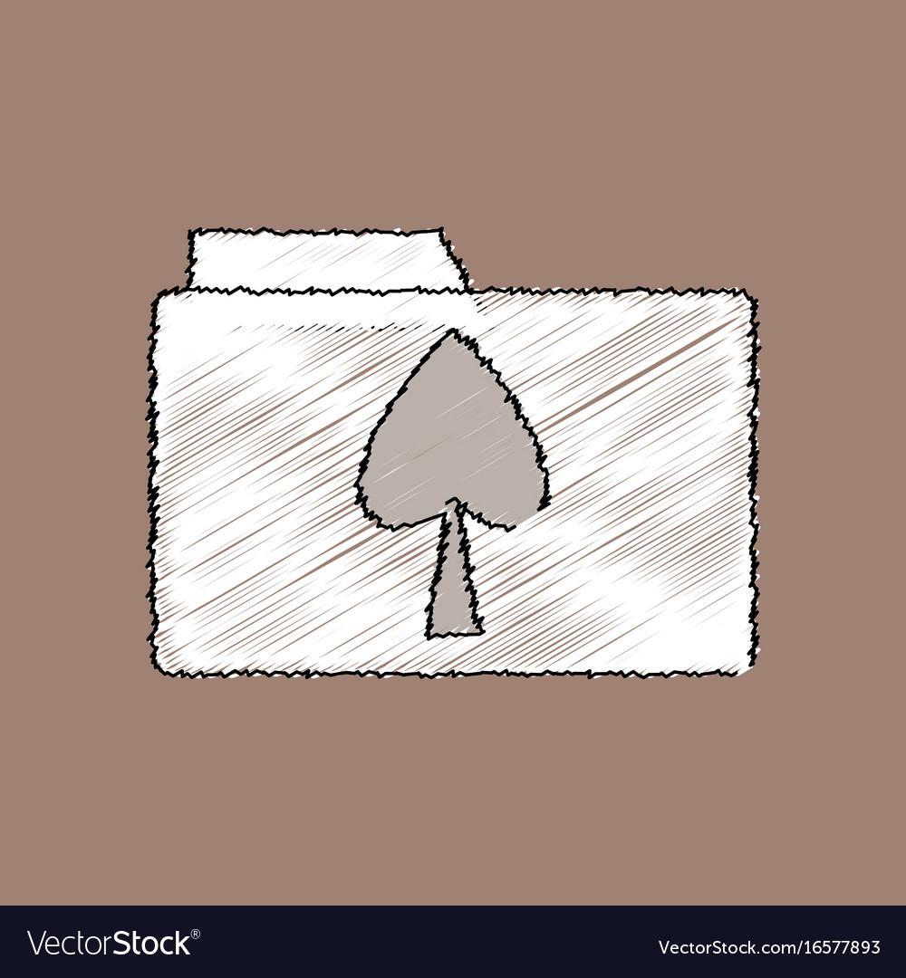 Flat shading style icon spade symbol on folder