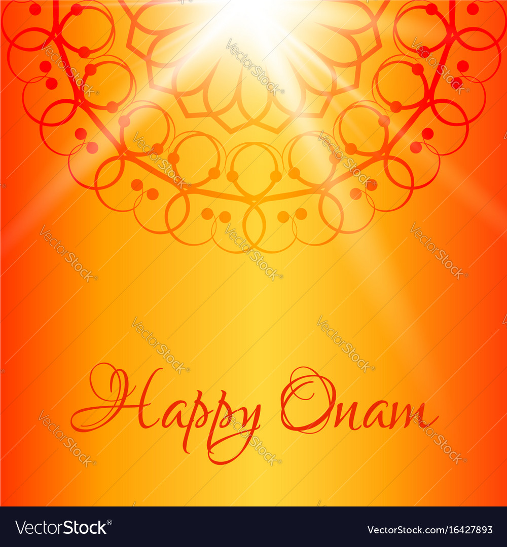 Happy Onam Greeting Card With Orange Background Vector Image