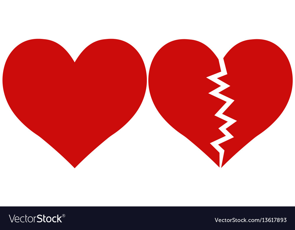 Heart And Heartbreak Love And Parting Royalty Free Vector