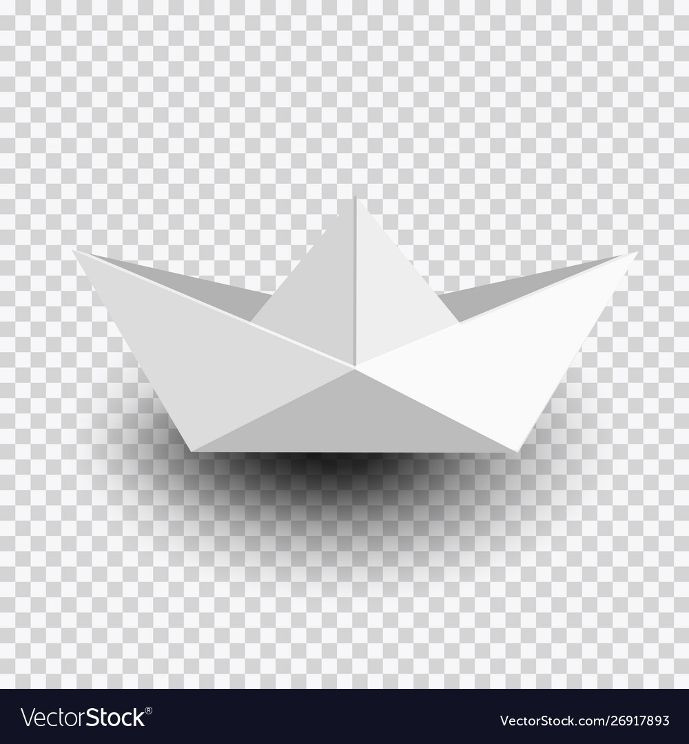 Origami white paper shipboat isolated on