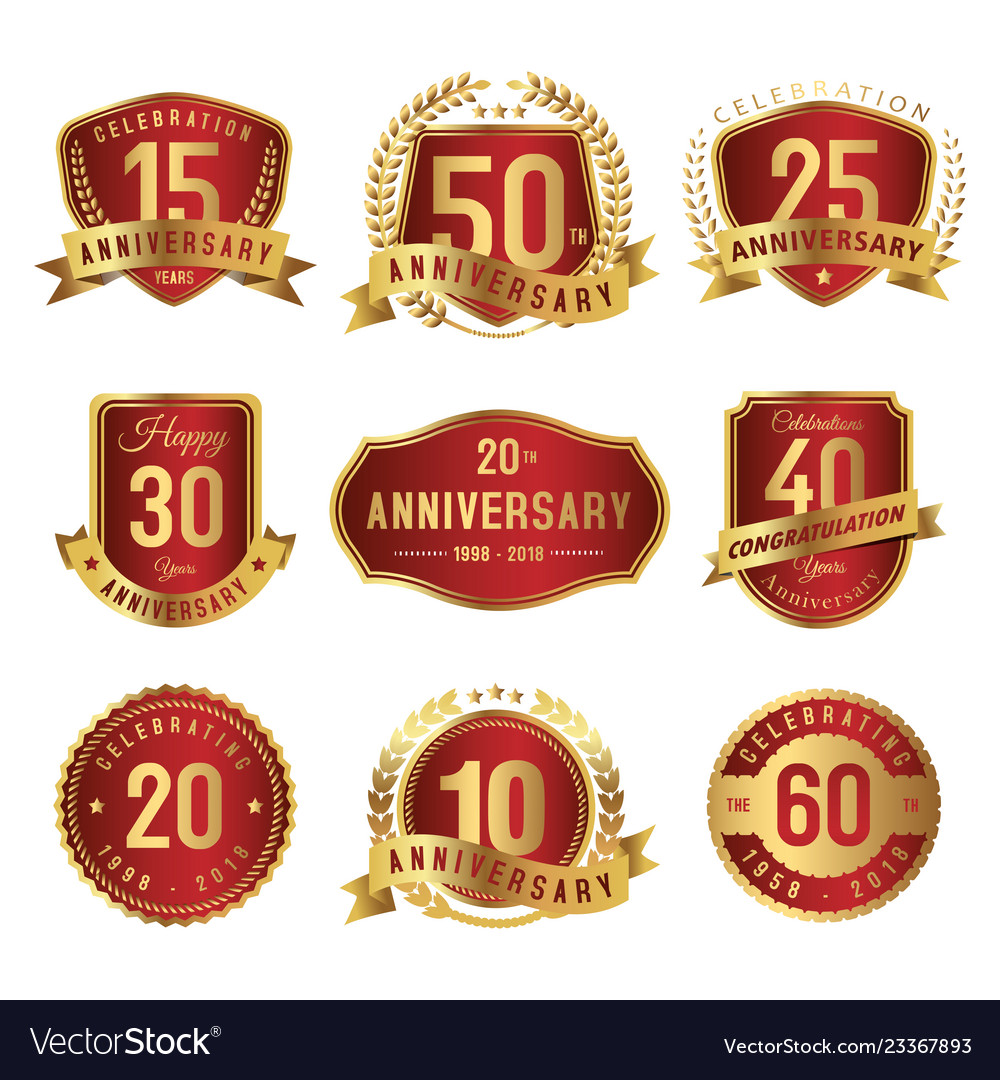 Set of anniversary label gold and red