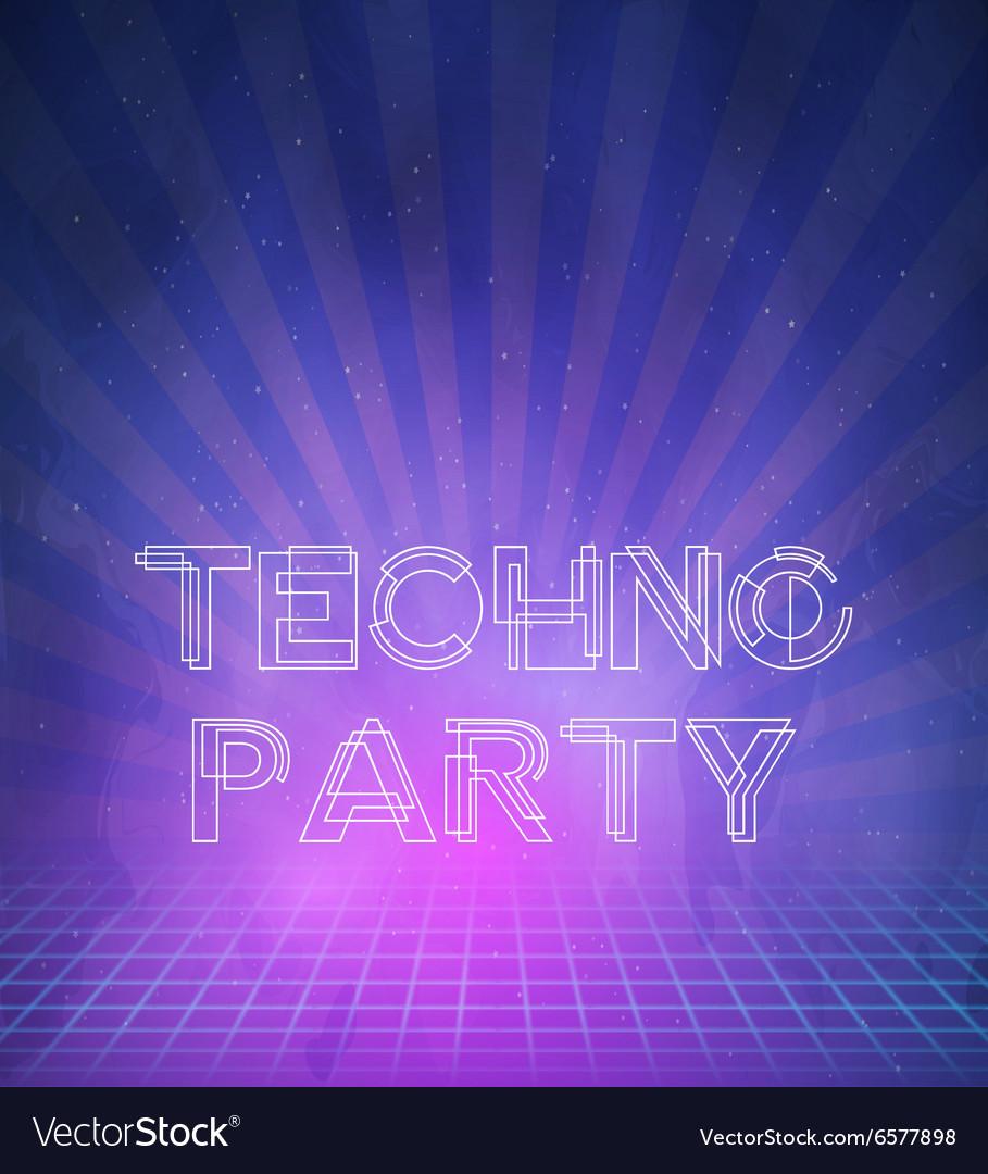 1980 Neon Techno Poster Retro Disco 80s Background