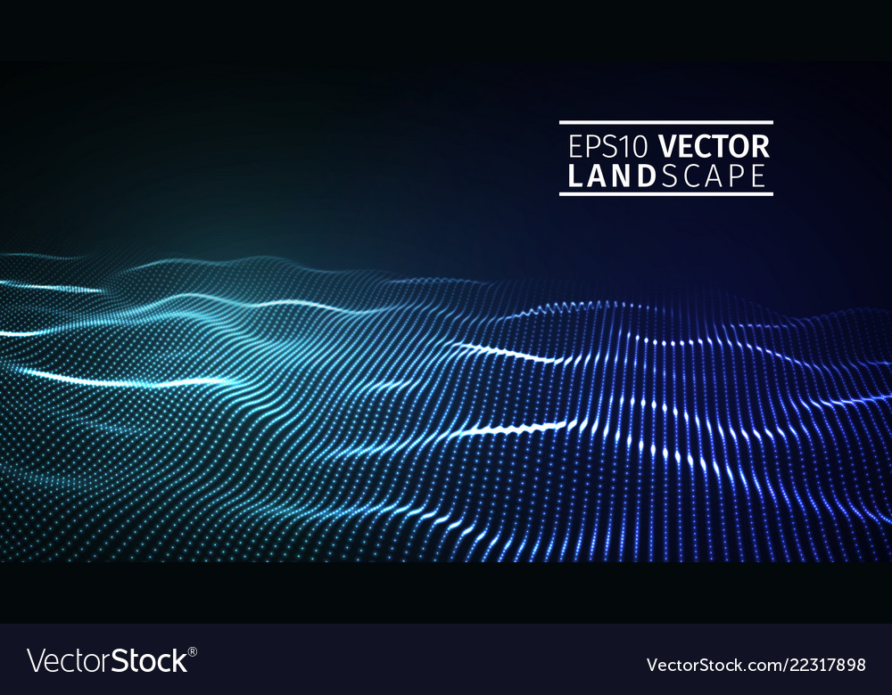 3d glowing abstract digital wave particles
