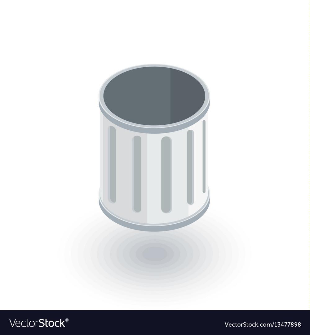 Empty trash isometric flat icon 3d
