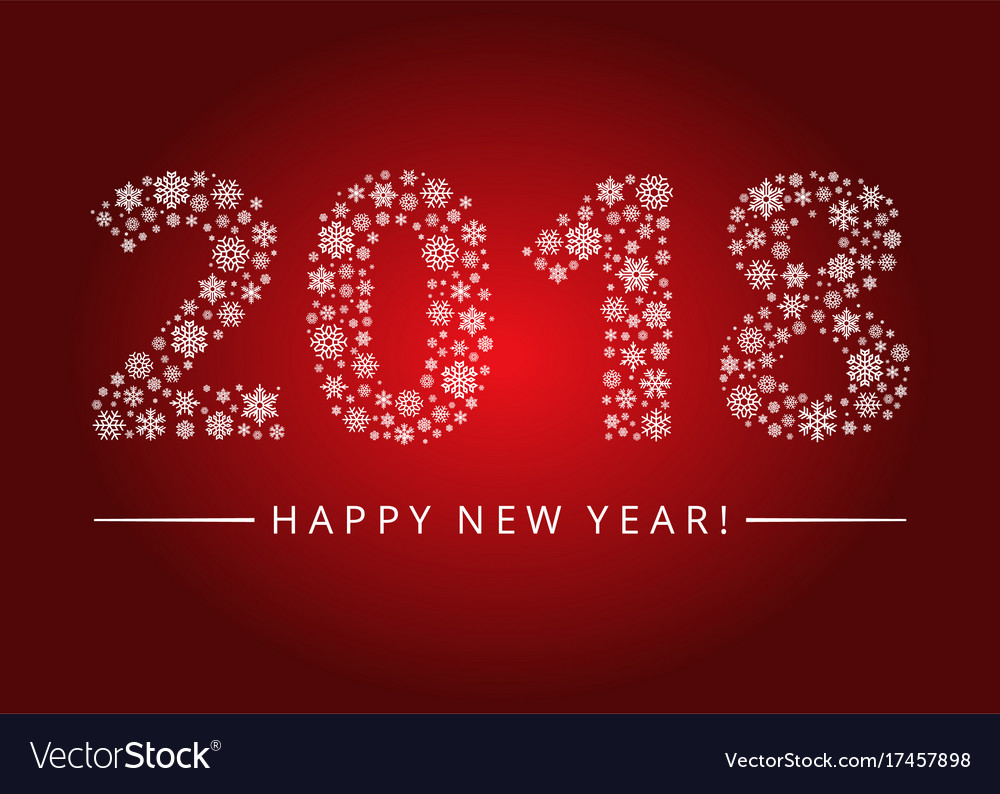 happy new year 2018 greeting card vector image