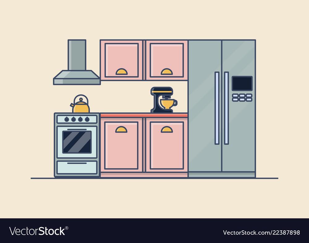 Interior of kitchen room kitchenware