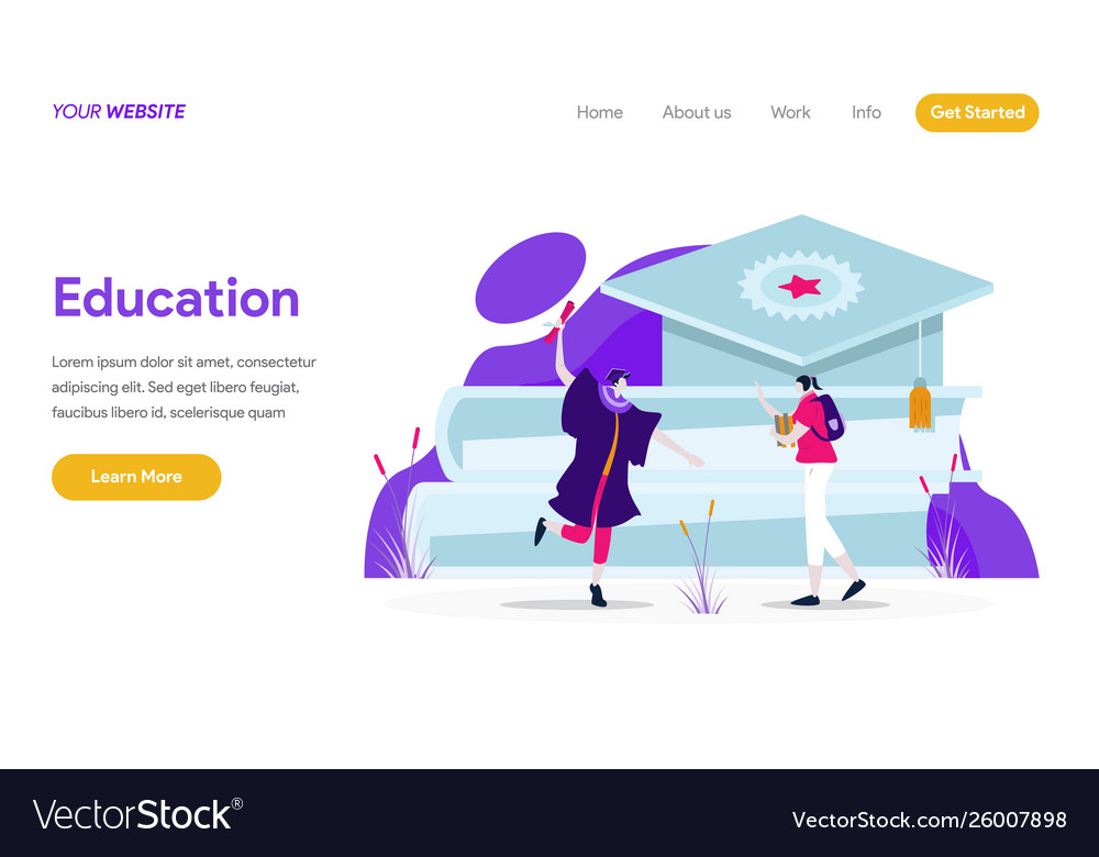 Landing page template education concept