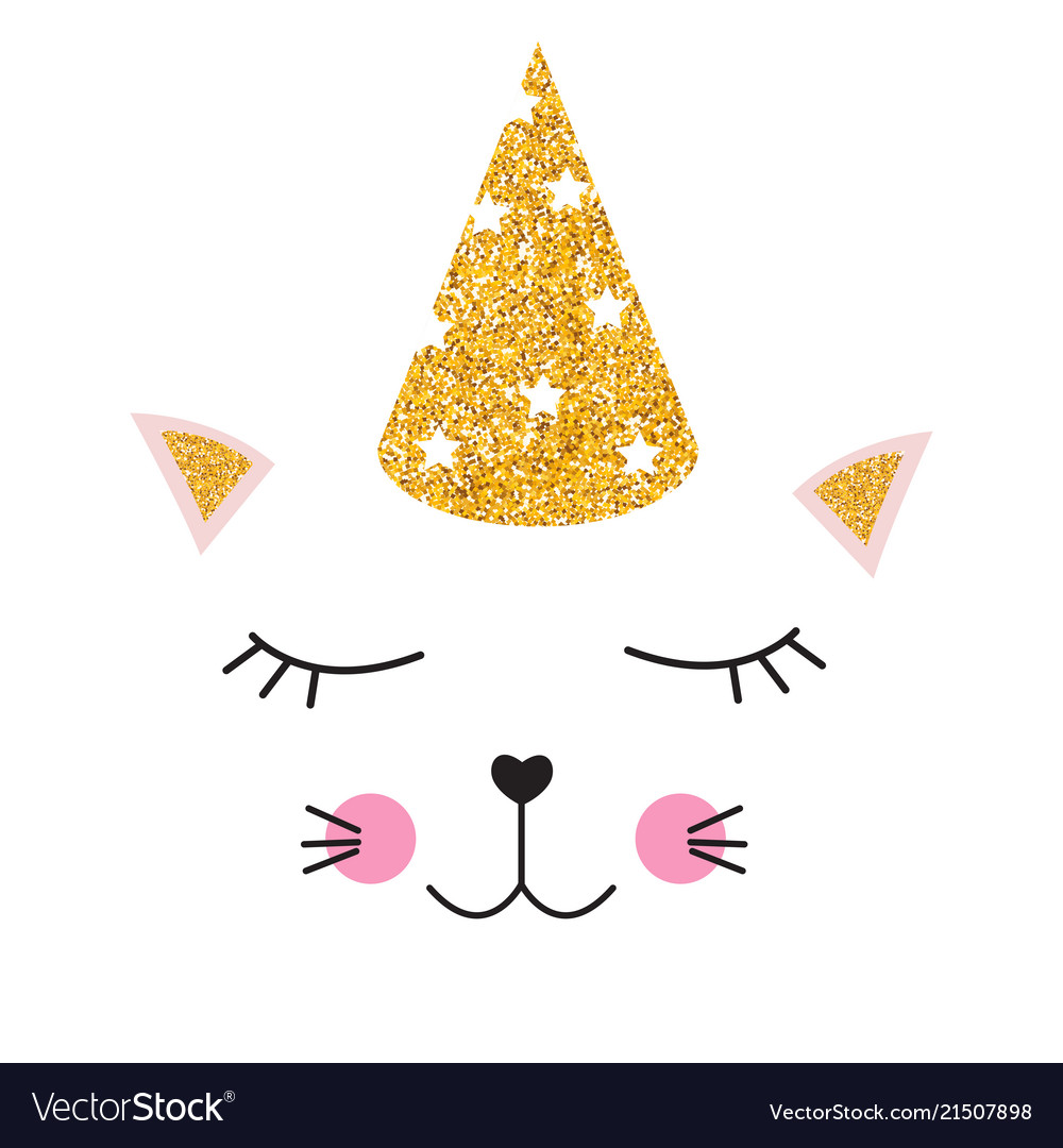 Little cute cat with party festive cap for card