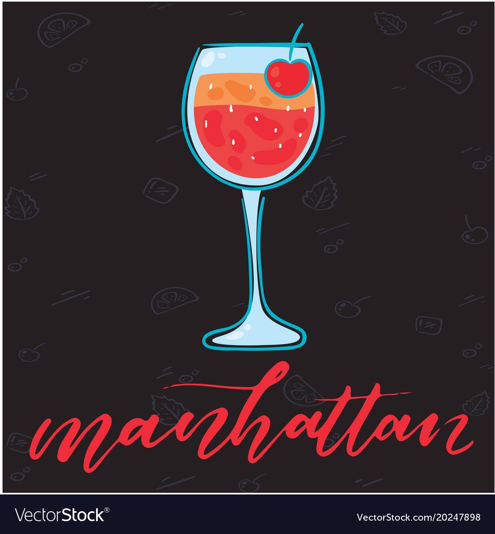 Manhattan glass of cocktail black background