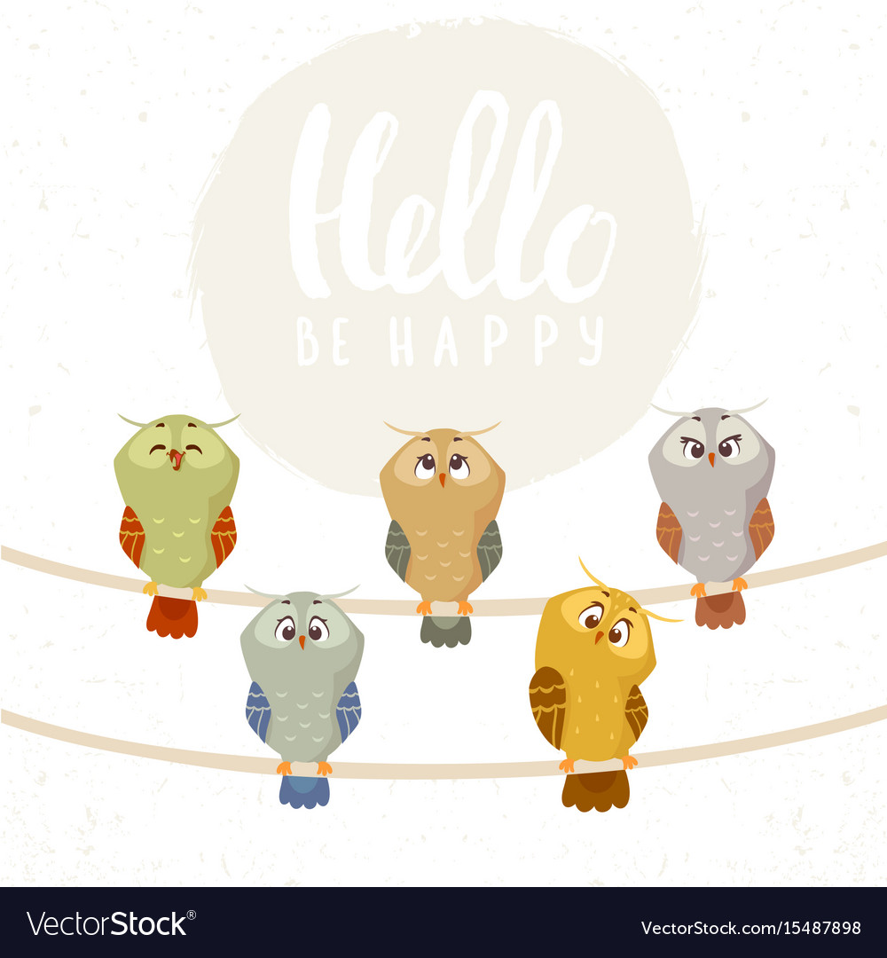 Owl set cute