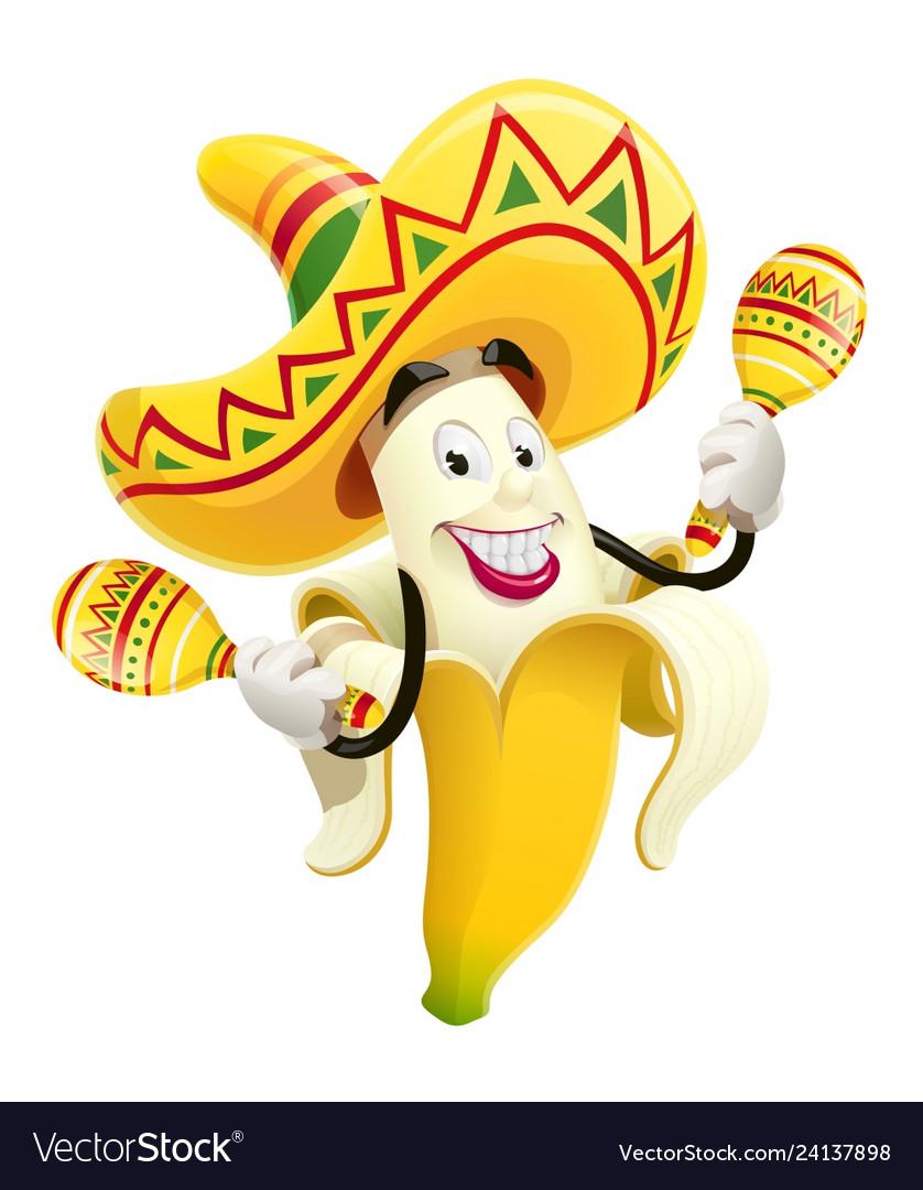 Ripe banana with maracas
