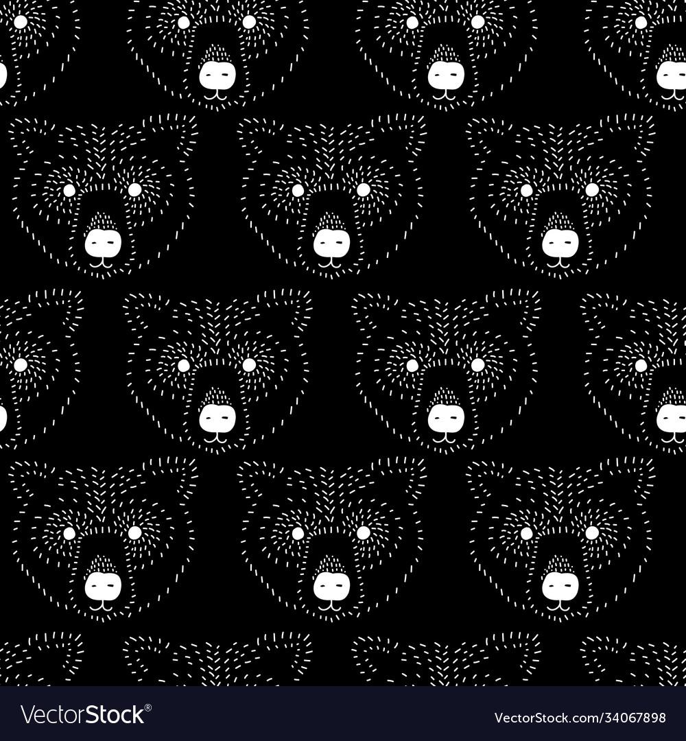 Seamless pattern bear head white on black