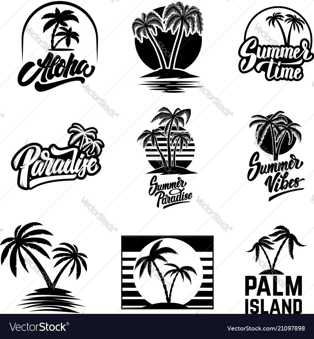 Set summer emblems and design elements design