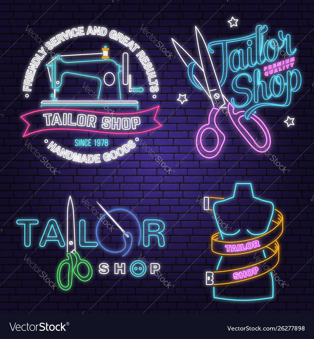 Tailor shop neon design or emblem night