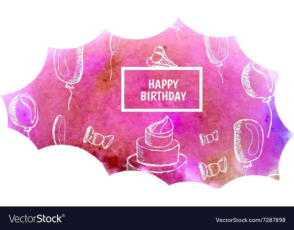 Watercolor greeting background happy birthday