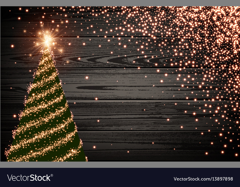 Wooden background with green christmas tree