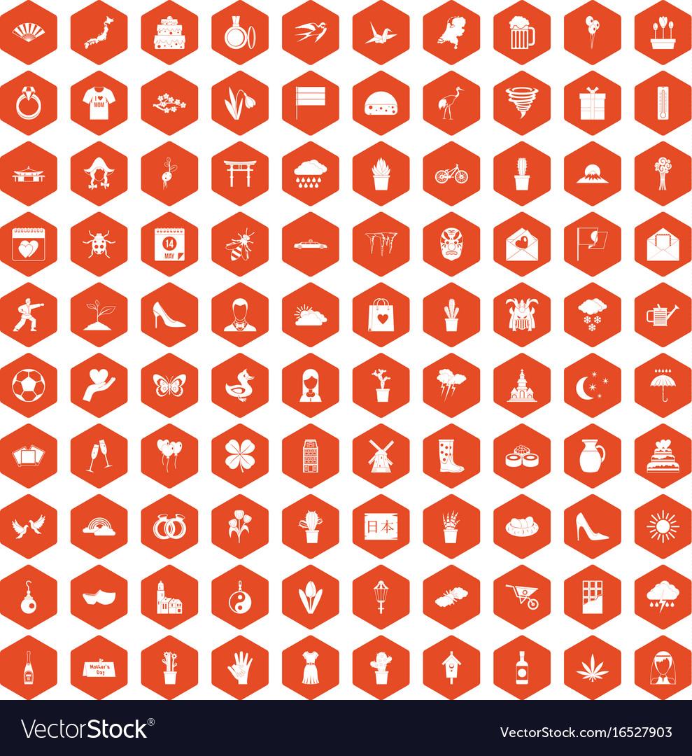 100 flowers icons hexagon orange