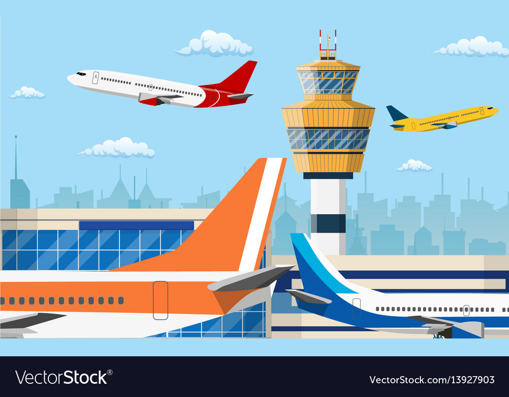 Airport control tower and flying civil airplane