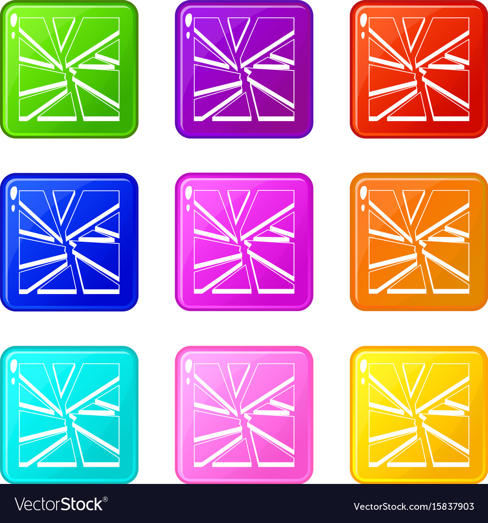 Broken glass icons 9 set