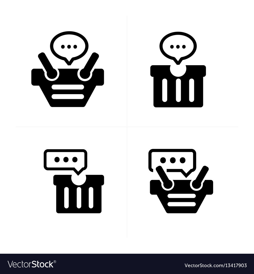 Bubble talk in cart icon set 4