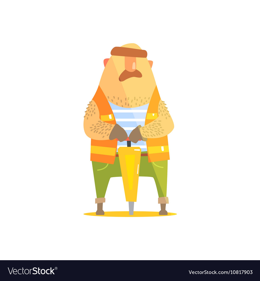 Builder With Jackhammer On Construction Site vector image