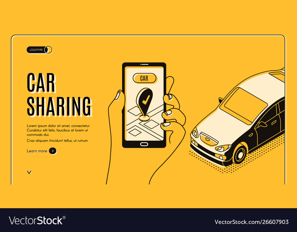 Car sharing service isometric landing page app