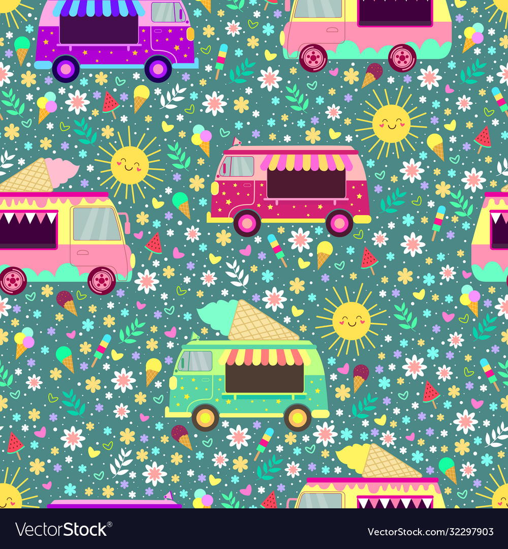 Cartoon ice cream trucks seamless pattern
