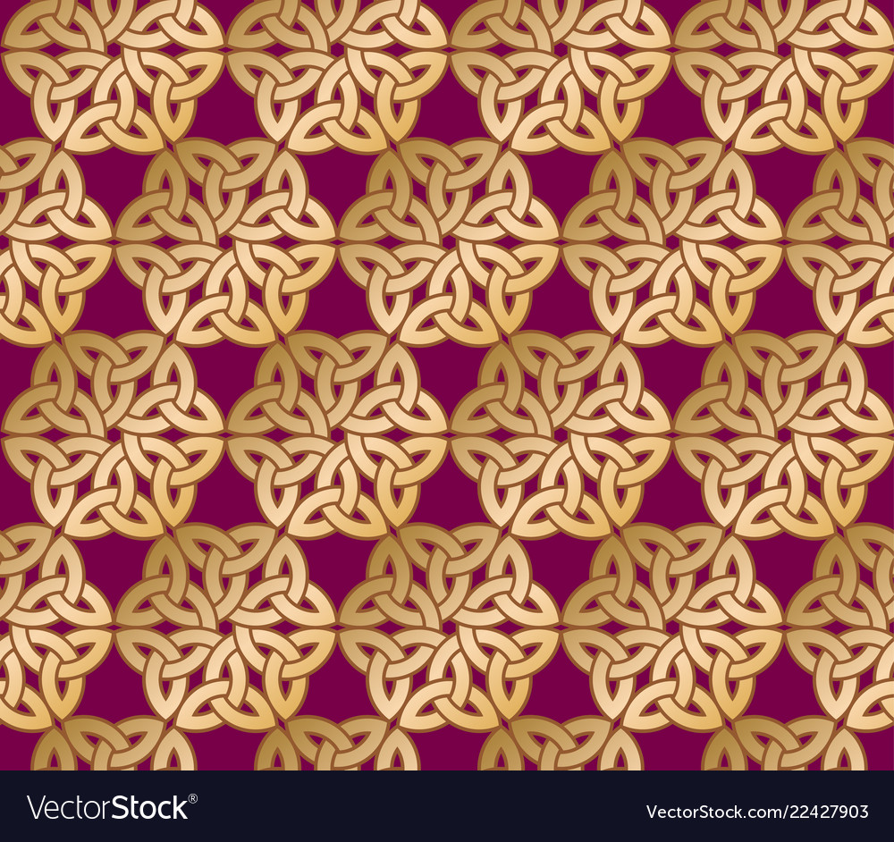 Celtic ornament seamless pattern gold lace