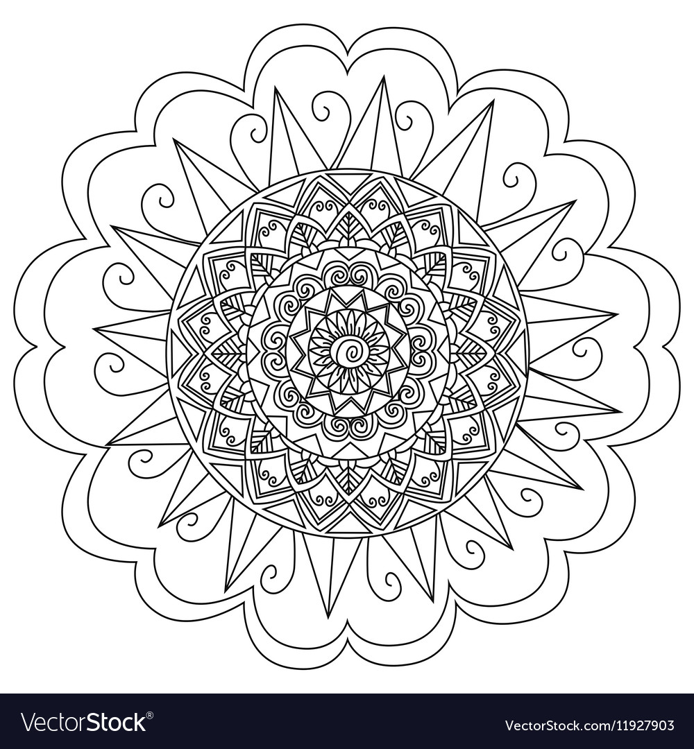 Mandala Flower Coloring For Adults Royalty Free Vector Image