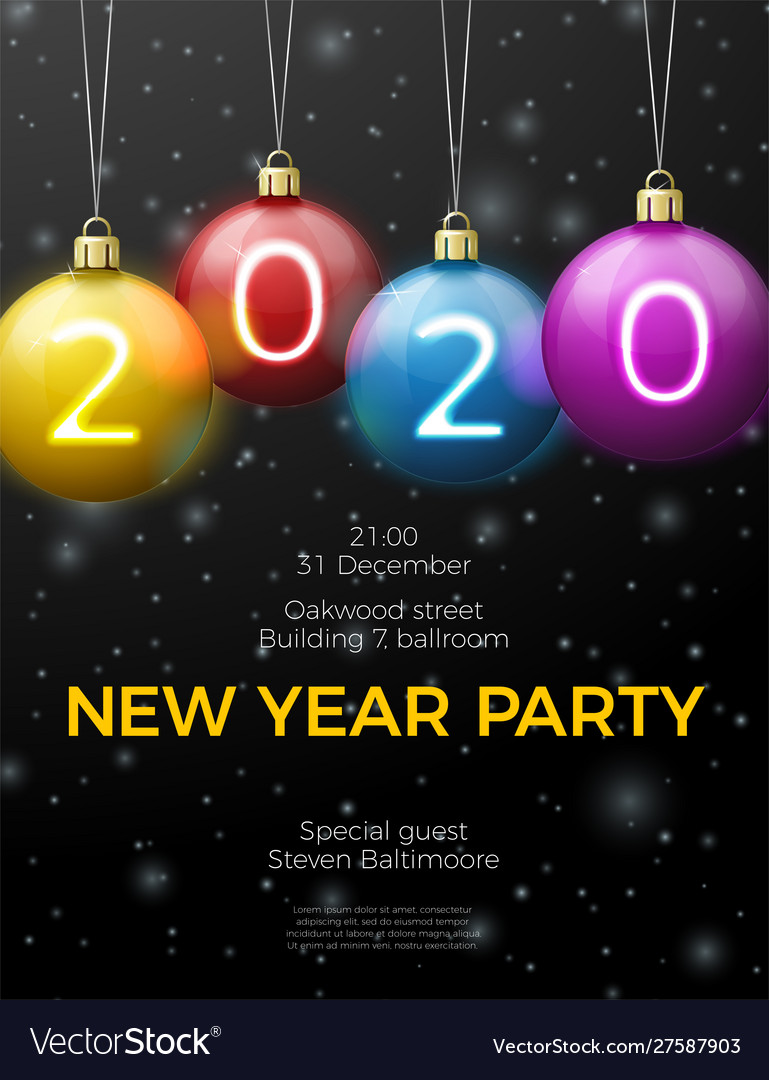 New year poster template with bright balls