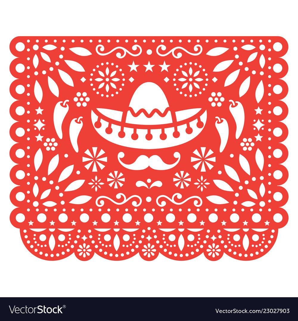 Papel picado floral design with sombrero