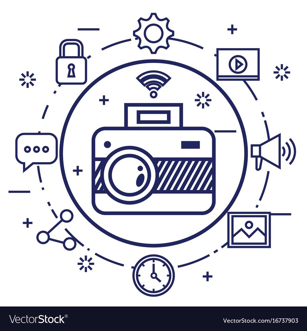 Photo camera network multimedia web app icons vector image