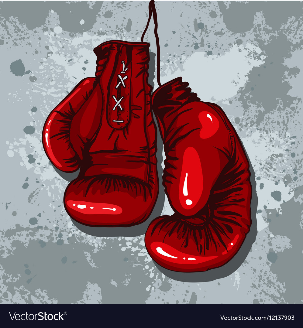 Retro boxing gloves in red
