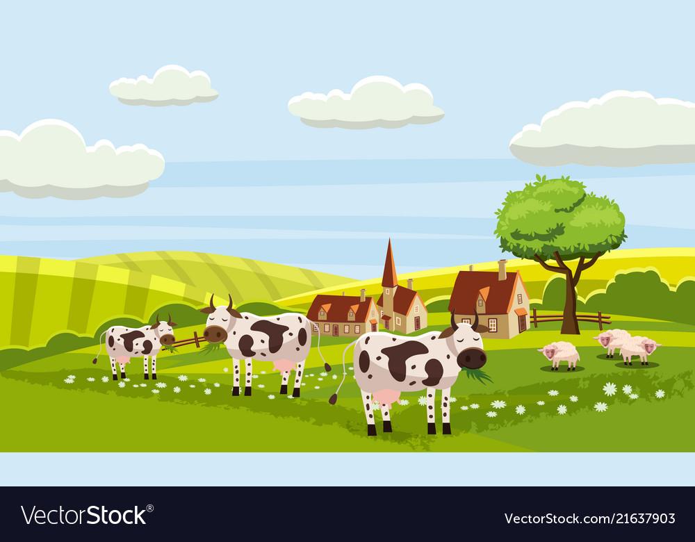 Rural cute farm view cow sheep