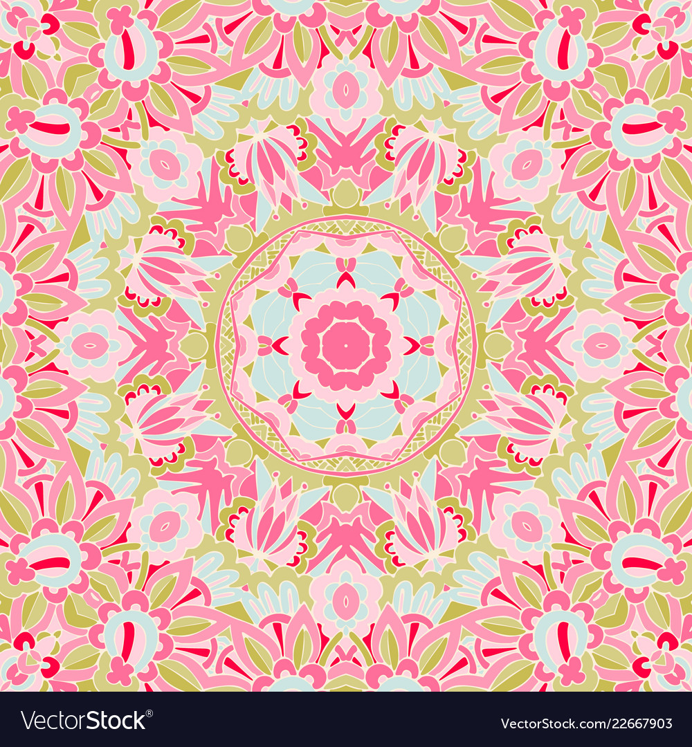 Seamless pink floral background with abstract