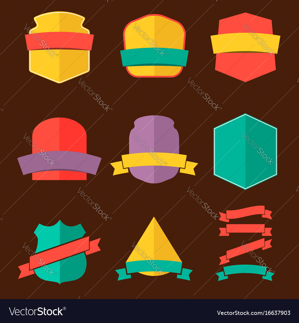 Set badges in flat style