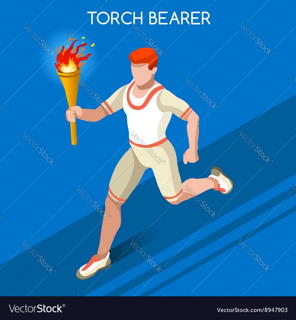 Torchbearer 2016 Summer Games 3D Isometric vector image