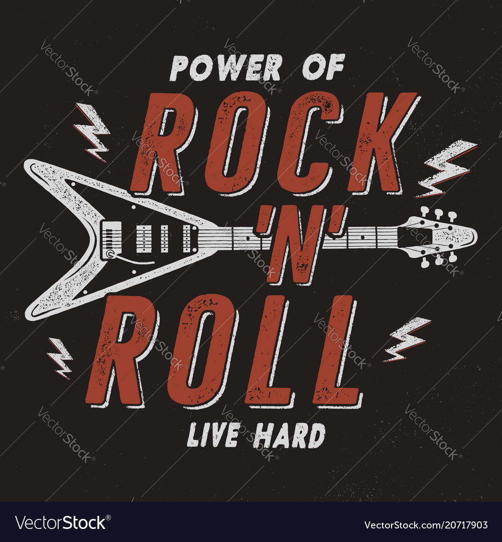 Vintage hand drawn rock n roll poster retro music
