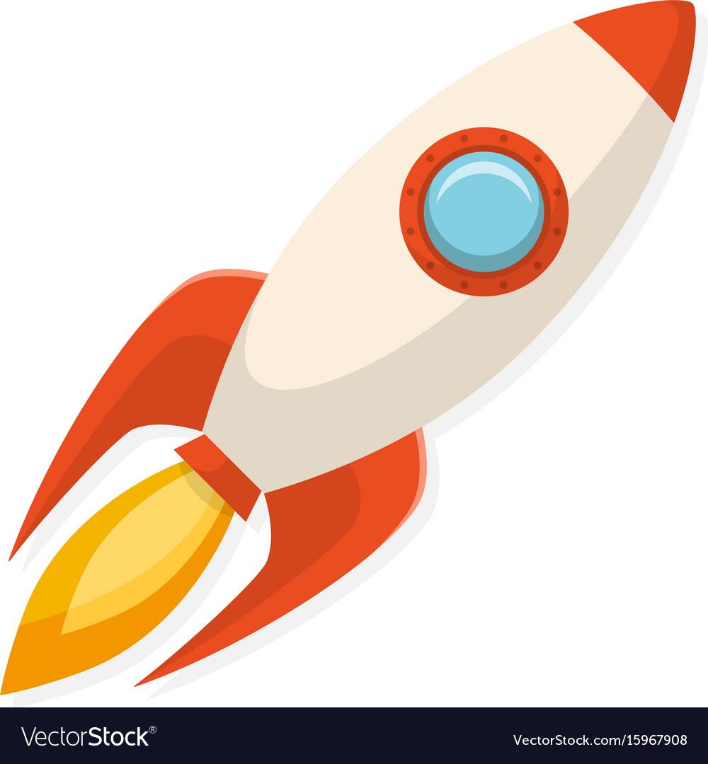Cartoon flat design rocket ship symbol of start vector image