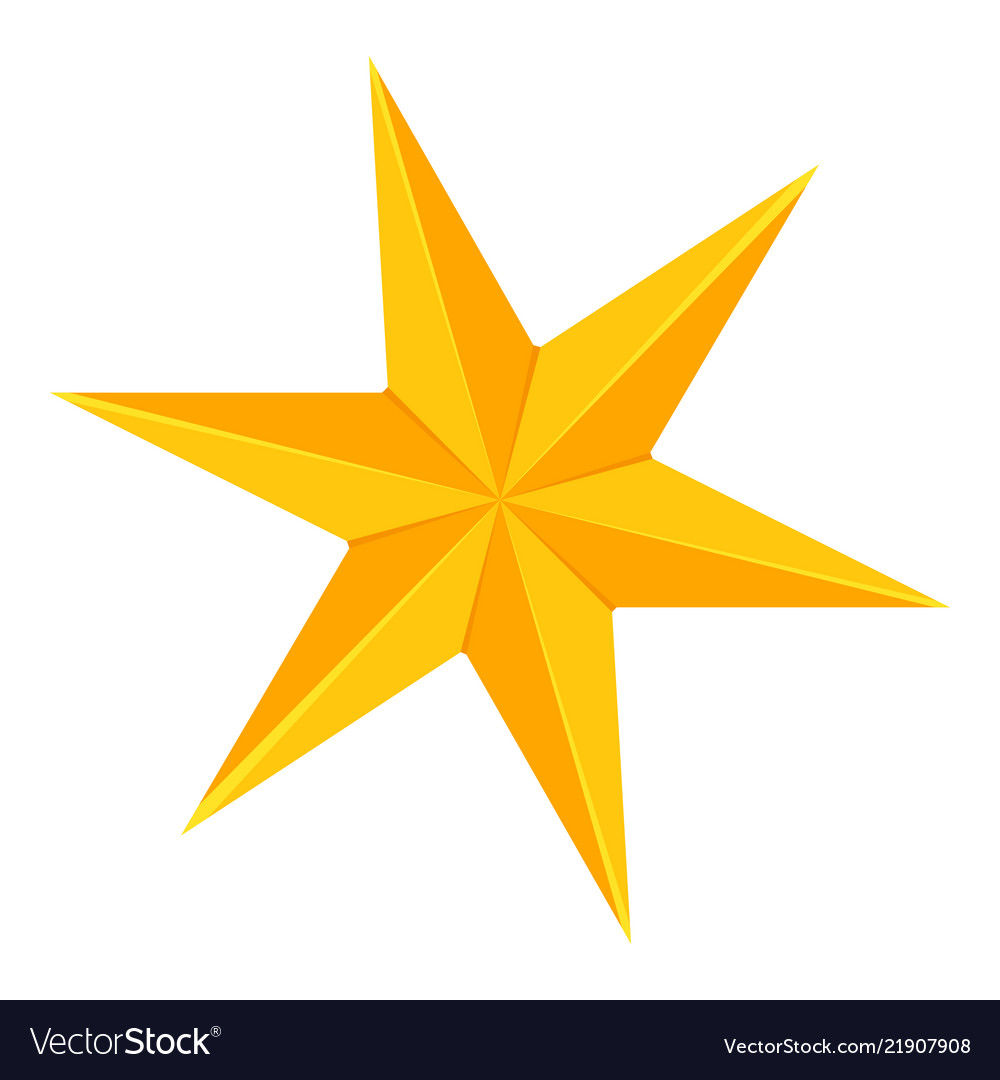 Colorful Cartoon 6 Point Golden Star Royalty Free Vector