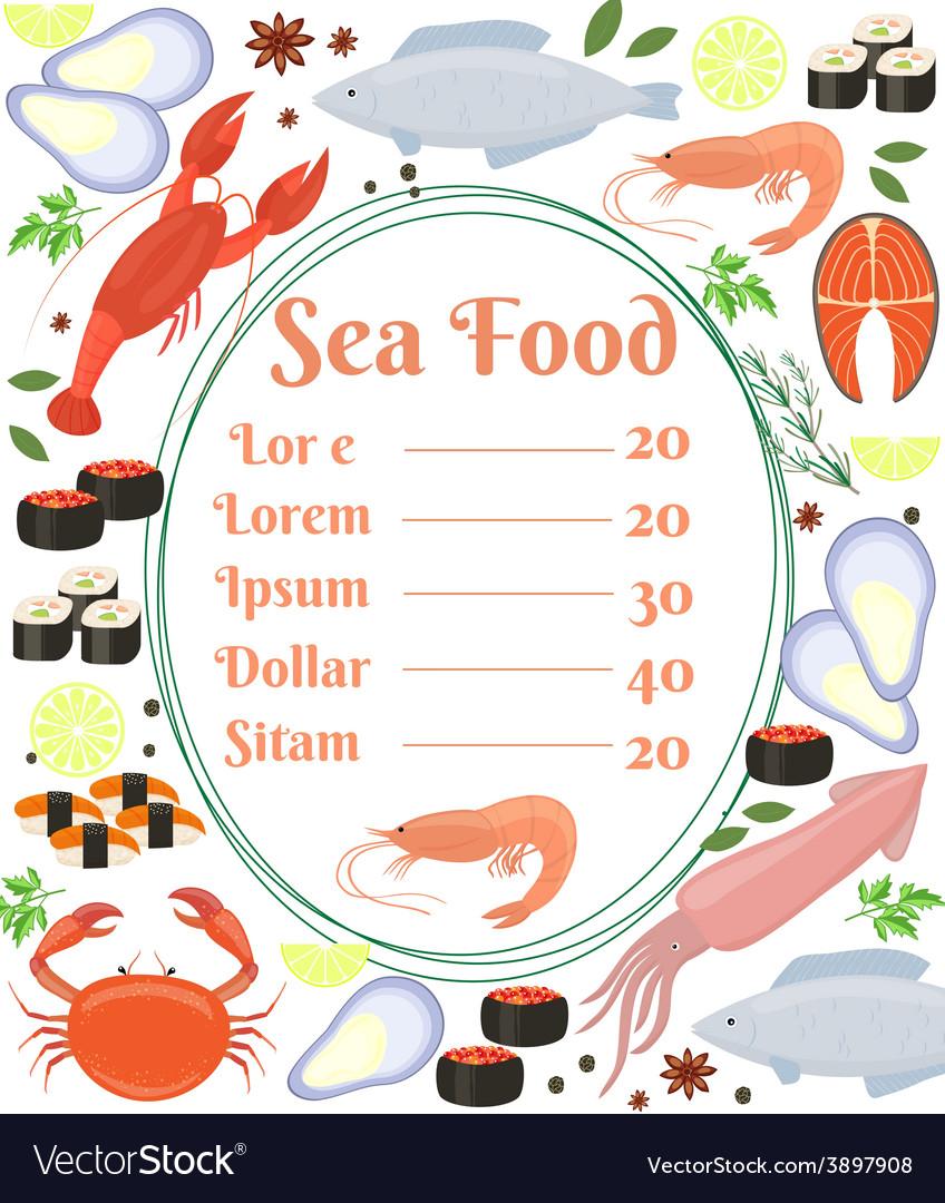 Colorful seafood menu poster