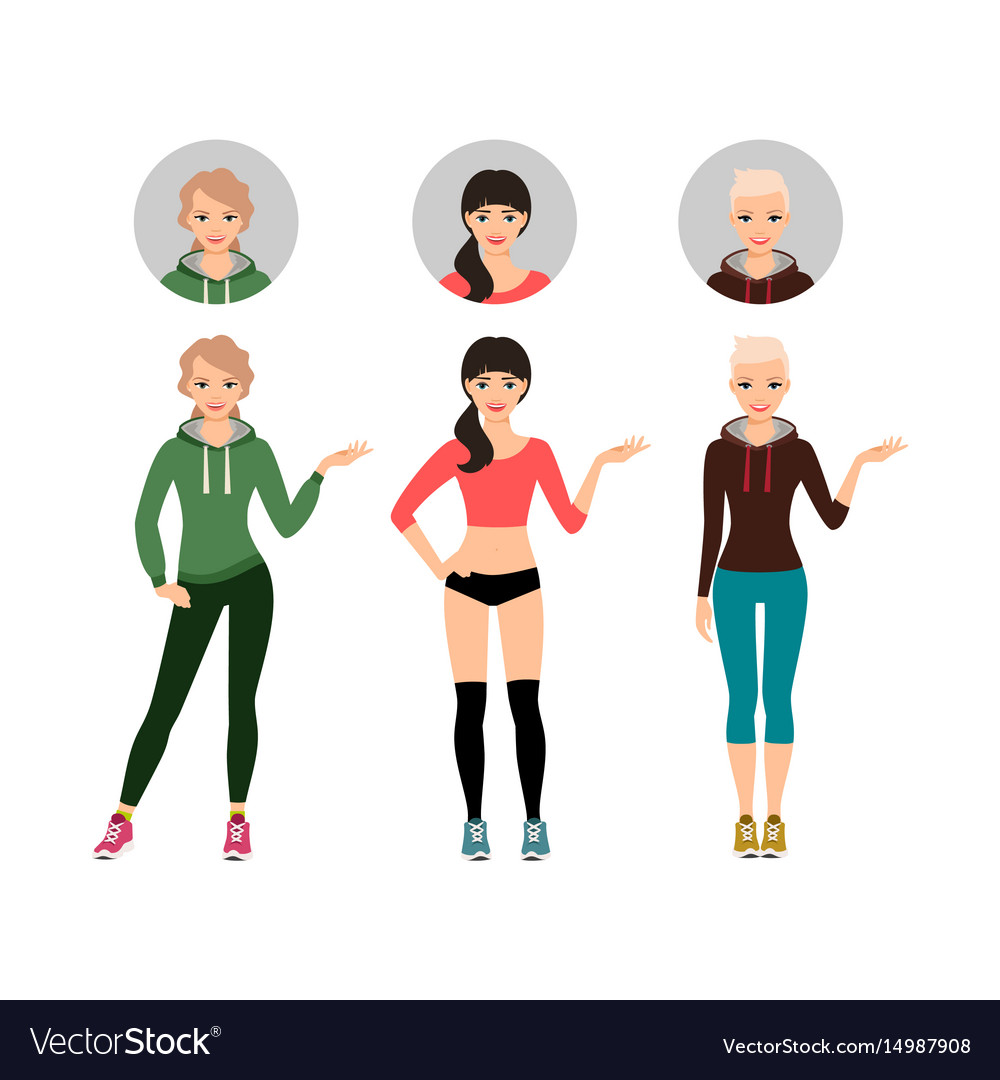 Female fitness model shows sports product vector image