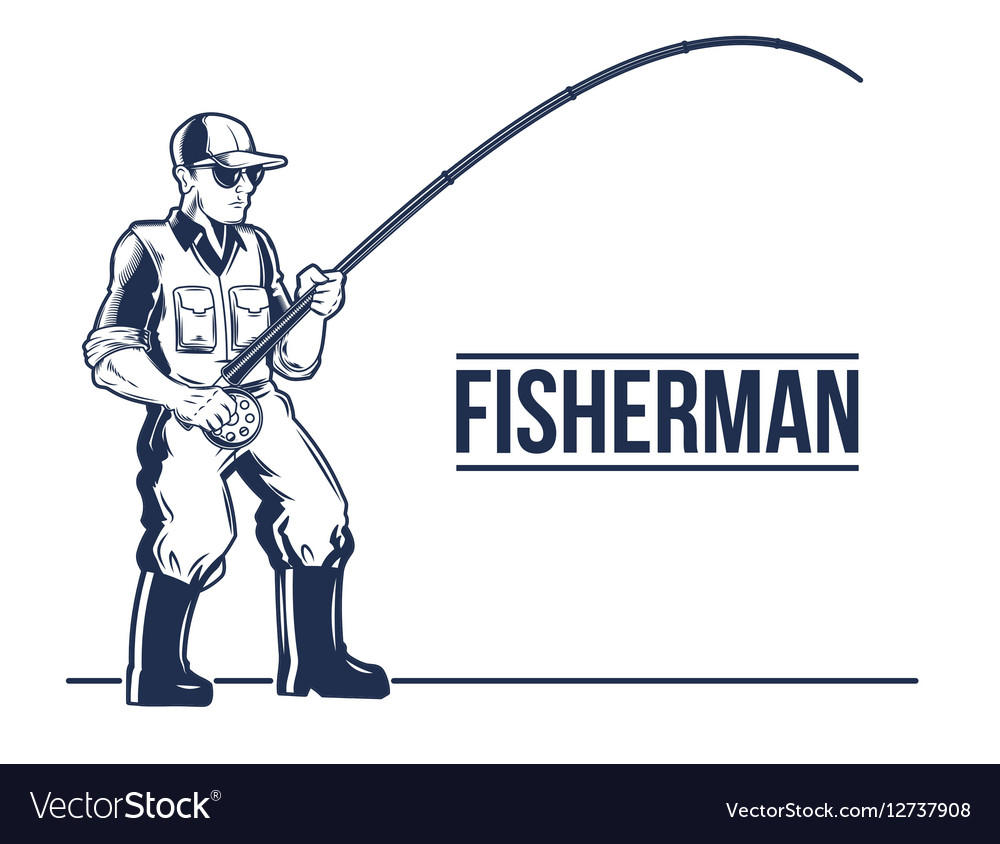 Fishing label emblem with rod and fisherman