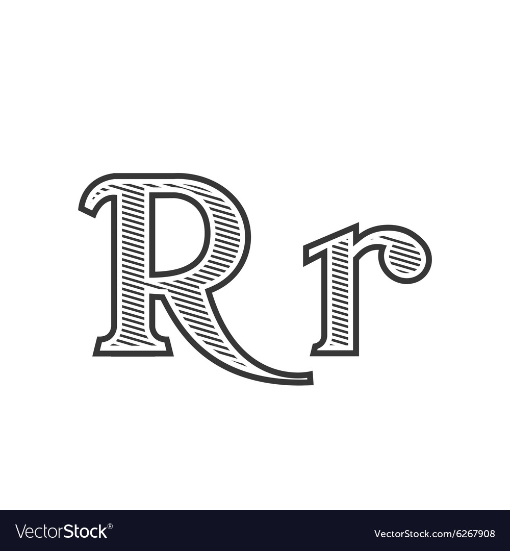 Font tattoo engraving letter R with shading vector image