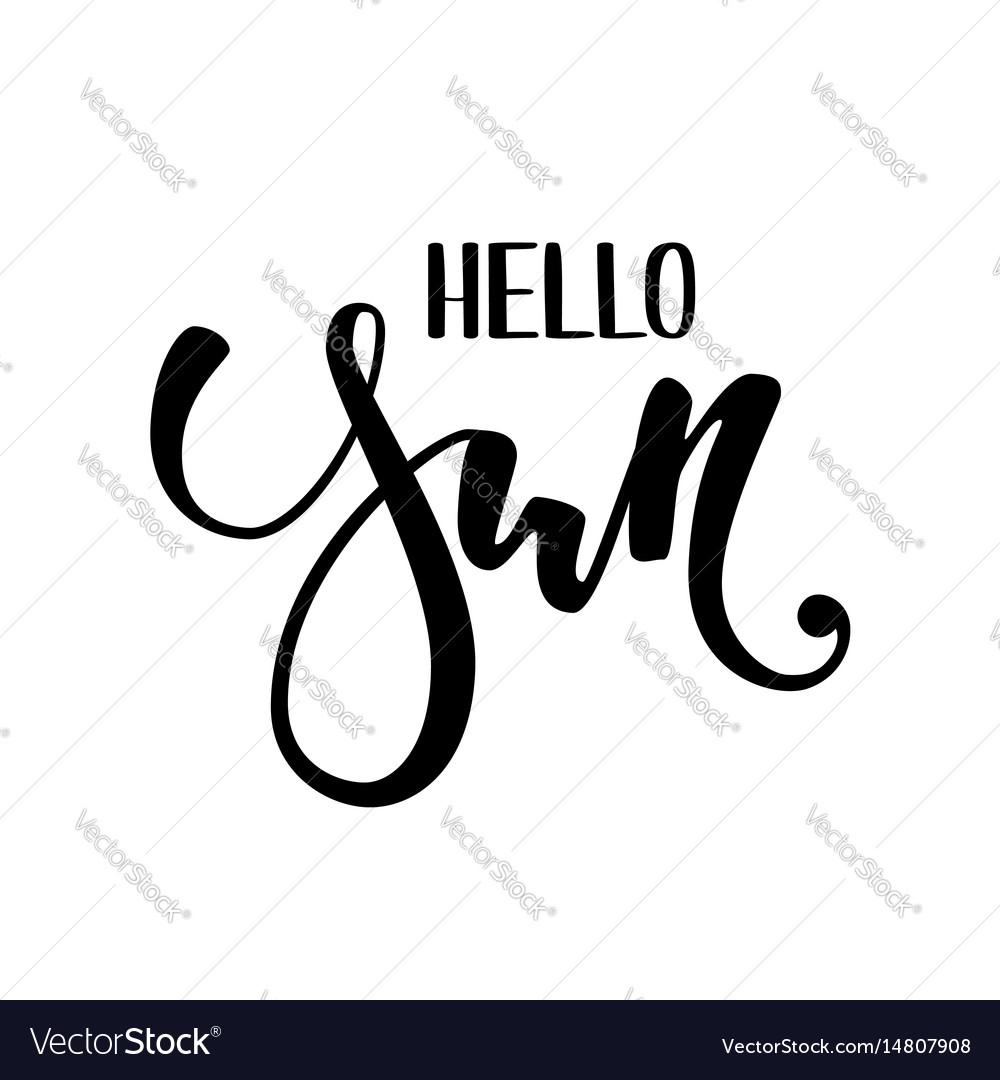 Hello sun hand drawn calligraphy and brush pen vector image